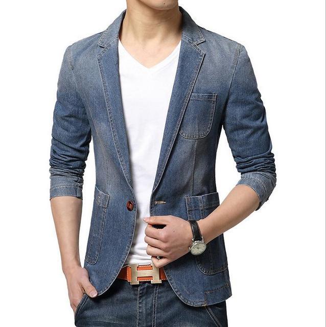 Nuevas Chaquetas de Mezclilla Luz moda traje slim fit chaqueta de los hombres Chaquetas de lavado Jeans Ropa Chaquetas de Mezclilla