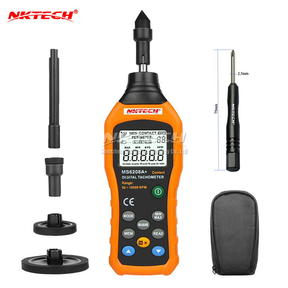 NKTECH Digital Tachometer MS6208A+ Contact Type 50-19999RPM Air Flow Anemometer Wind Rotation Speed Meter 5Kit Data Logging Test фрёлих ф 301 история о забавных слонах isbn 978 5 699 90053 4
