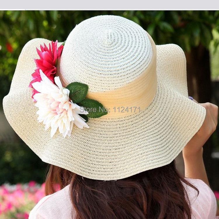 47ae08f6b US $8.39 30% OFF|[DINGDNSHOW] 2019 Fashion Women Foldable Hat Wide Brim  Beach Floral Sun Caps Floppy Straw Hat Women Summer Hats -in Sun Hats from  ...