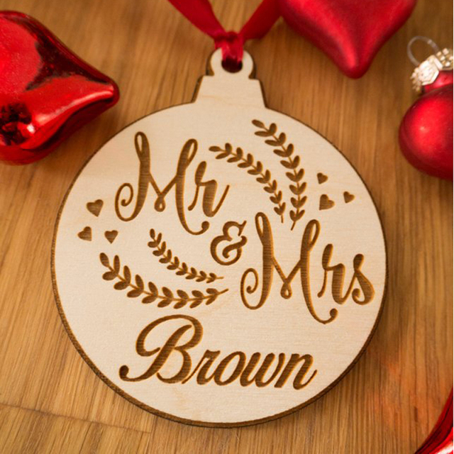 Personalized Christmas Ornament ,Rustic Ornament ,Laser Engraved , Personalized Gift for Husband, wedding Ornament - Personalized Christmas Ornament ,Rustic Ornament ,Laser Engraved
