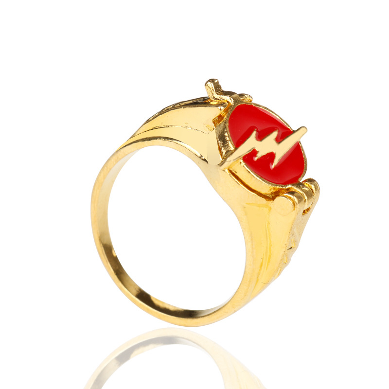 The Flash Rings Gold Color Justice League DC Comics Superman Jewelry For Men Women Ring Action Figure Cosplay Toys image
