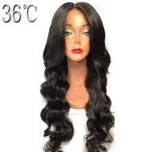 36C Glueless Lace Front Human Hair Wig With Middle Part Peruvian Non Remy Hair Body Wave Wig Natural Color With Baby Hair