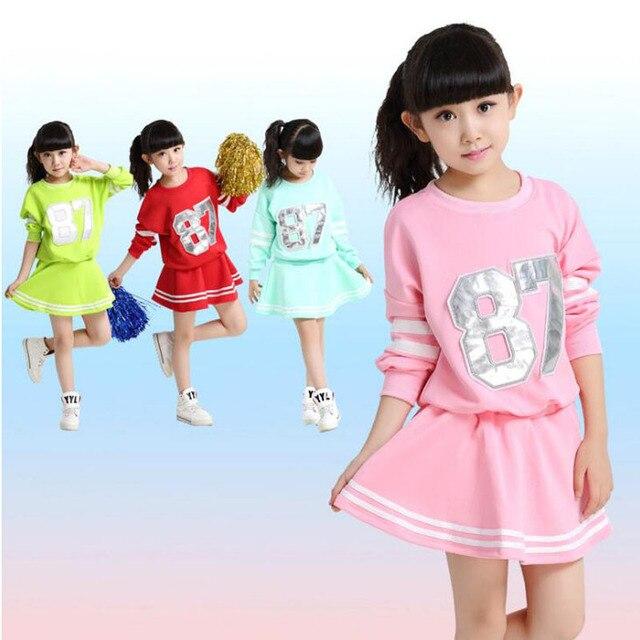 Plus Size Adults KIds Primary School Uniform Teen Students Chorus Costumes  Children Cheerleading Students Aerobics Clothing dfc0a217068c