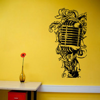 Floral Music Microphone Wall Stickers PVC Removable Home Decor Vinyl Art Wall Decals