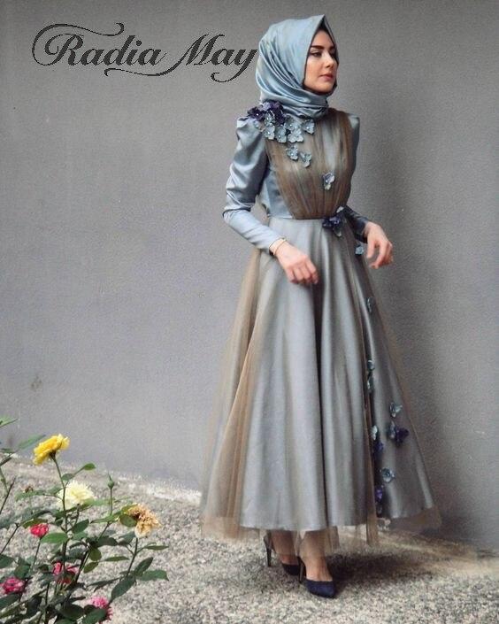 Vintage Ankle Length Grey Blue Muslim Evening Dress with Hijab Long Sleeves 3D Flowers Arabic Kaftan