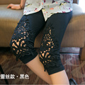 New Fashion Sexy Black Leggings Floral Stretchy Knee Length Pants Women Girls Hollow Breathable Comfortable Leggins Mujer 7AA153