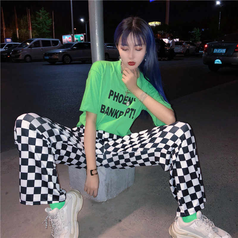 2019 Korea bf street hip hop new plaid pants fun female personality large size Vintage checkerboard print couple full pants