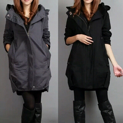 Women Stylish Style Hoodie Long Sleeve Winter casual  Trench Coat 5 Color large size