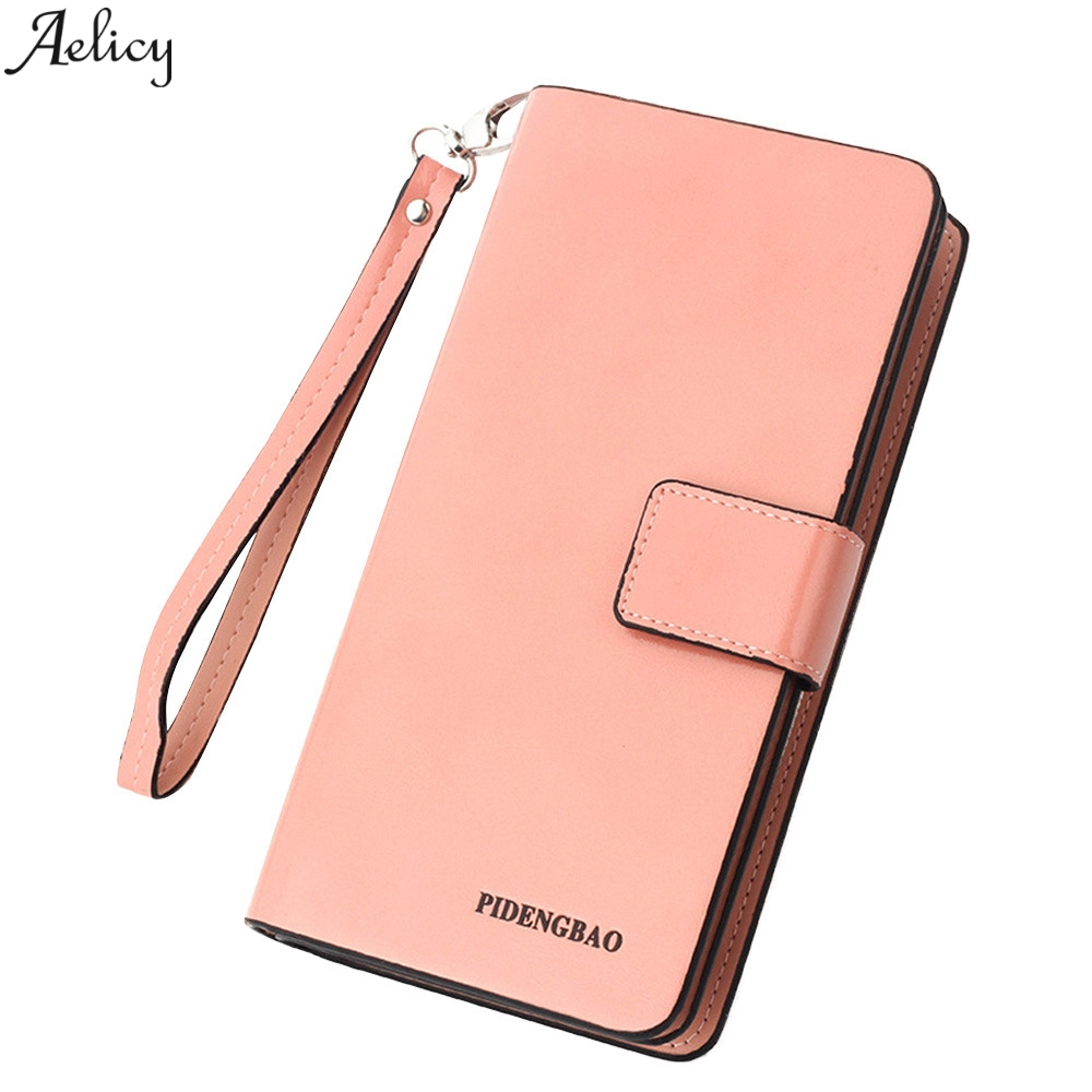 Aelicy Wallet Women Long PU Leather Luxury Pocket Fashion Solid Retro Vintag Wallet Women Card Credit Card Coin Purse