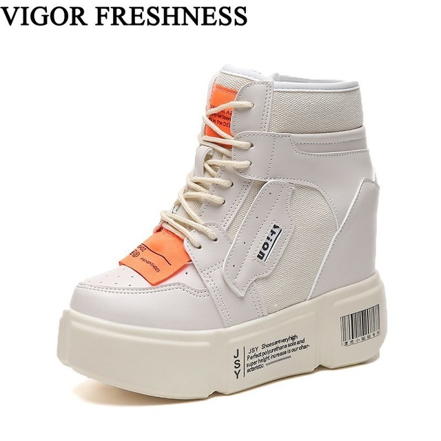 VIGOR FRESHNESS Shoes Women Platform Boots Height Increasing Shoes Super High  Heels Ankle Boots Tennis Shoes Lady Sneakers WY146 c9694feb8035