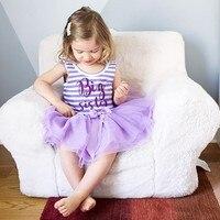 NewCute Summer Casual Baby Girls Letter Stripe Pattern Sleeveless Patchwork Mesh Dress Kids Toddler Pageant Sundress New