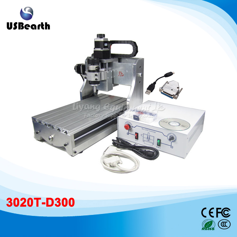 USB cnc router 3020T-D 300w spindle pcb miling machine  cnc router 3020z d 300w spindle 3 or 4axis cnc cutting machine