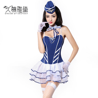 DRAIMIOR Sexy Flight Attendant Uniform Set Erotic Costumes Sexy Lingerie Hot Sex Role Play Cosplay air hostess Dress NJY0058