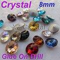 By01 8 mm 10 pçs/lote Rivoli forma cristais Pointback Strass rodada pedrinhas contas cores para escolher DIY acessórios do telefone