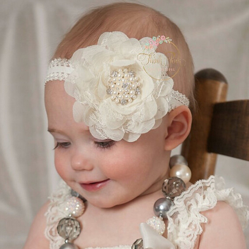Kids Lace Pearl Big Flower Headband Wide Band Hairband Newborn Flowers Head Wrap Elastic Hair Band Accessories Bandeau bebe bebe girls flower headband four felt rose flowers head band elastic hairbands rainbow headwear hair accessories