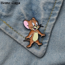 Homegaga Cat and mouse Zinc alloy tie pins badges para shirt bag clothes backpack shoes brooches medals decorations D1515