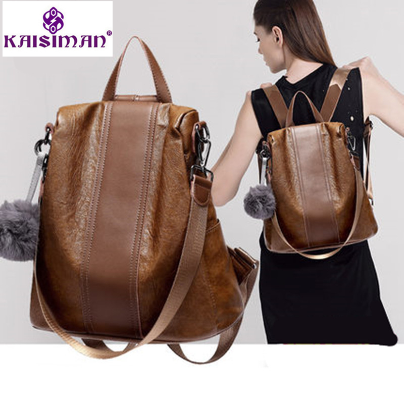 все цены на Vintage Women Genuine Leather Backpack Women Travel Bag College Preppy School Bag for Teenagers Girls Mochila Feminina Sac A Dos онлайн
