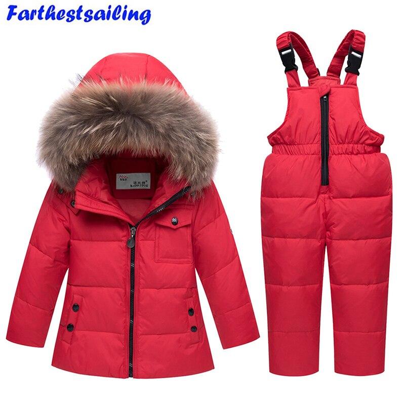 2018 новая зимняя одежда для маленьких мальчиков и девочек с утиным пухом, куртка снегоступы, детские меховые парки, лыжный комплект, Россия-30 ...