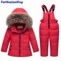 2018 New Winter Baby Boys Girls Duck Down Snowsuits Jacket Children Fur Parkas Ski Set Russia 30 Degrees Kids Clothes Overalls