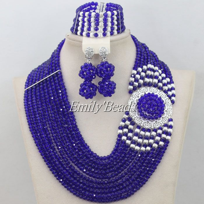 Royal Blue Nigerian Wedding Bridal Crystal Beads Jewelry Set Costume African Necklace Jewelry Sets Free Shipping AIJ113Royal Blue Nigerian Wedding Bridal Crystal Beads Jewelry Set Costume African Necklace Jewelry Sets Free Shipping AIJ113