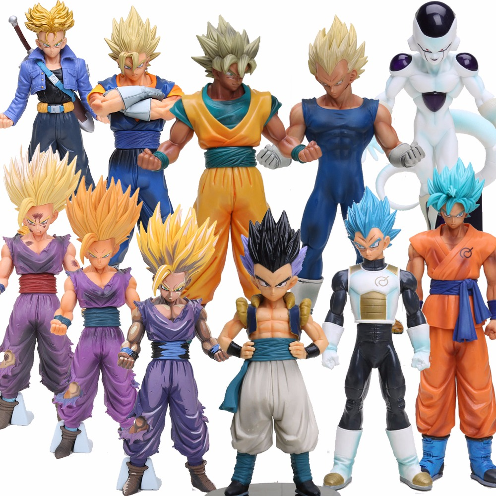 Dragon Ball Z Super Saiyan Vegeta Son Goku Freeza Trunks Vegetto Gotenks PVC Action Figure Collection Model Toy 11styles 18~30cm  new goku 14cm vegeta goku trunks dragon ball z resurrection f super saiyan god comics pvc action figures toy for kids