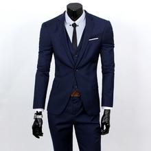 ( Suit + Vest + Pants ) 2018 Groom Groom Wedding Solid Color Dress Suits Men's High-end Brand Official Business Three-piece Suit