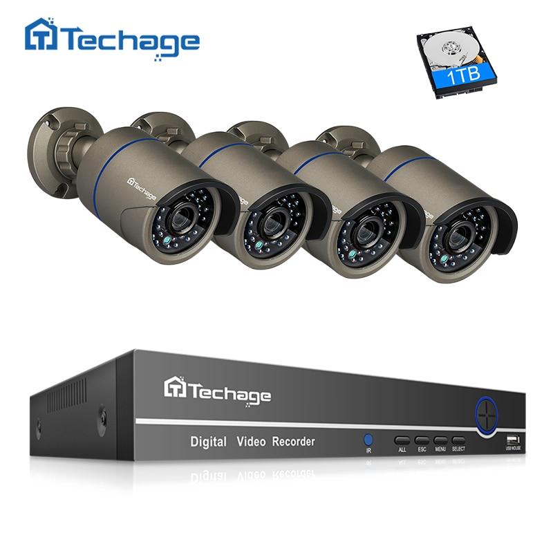 Techage 8CH 4CH видеонаблюдение POE P 1080 системы NVR комплект ИК Открытый 2MP POE IP камера P2P видео видеонаблюдения 2 ТБ
