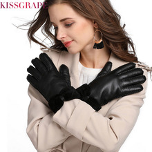 2019 Winter Women Warm Leather Gloves Real Sheep Fur Ladies Cashmere Riding Manual Guantes Snow Ski Mittens Red