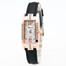 Relogio feminino jewelry Rectangle watch women Delicate Pointer leather strap wrist watch quartz dress watch(China)