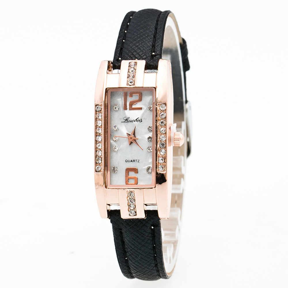 Relogio feminino jewelry Rectangle watch women Delicate Pointer leather strap wrist watch quartz dress watch