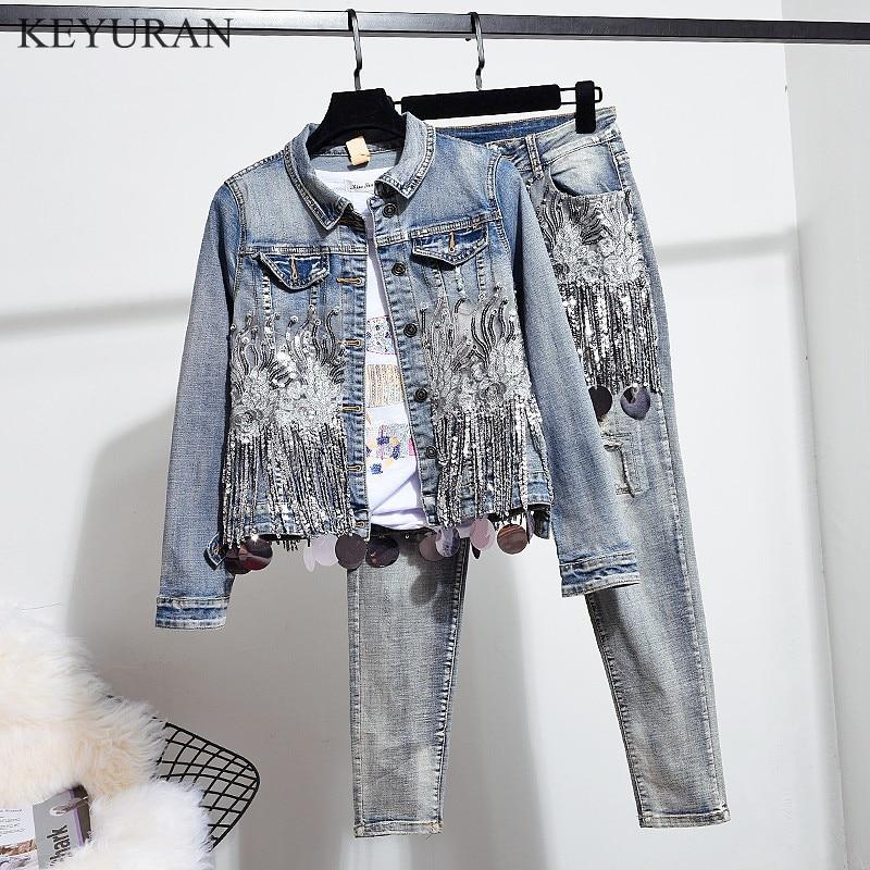 European Spring Autumn Women Fashion Sequins Short Denim Jacket Coat Hole Jeans Two Piece Vintage Denim