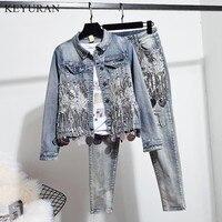 European Spring Autumn Women Fashion Sequins Short Denim Jacket Coat + Hole Jeans Two Piece Vintage Denim Set Student Streetwear