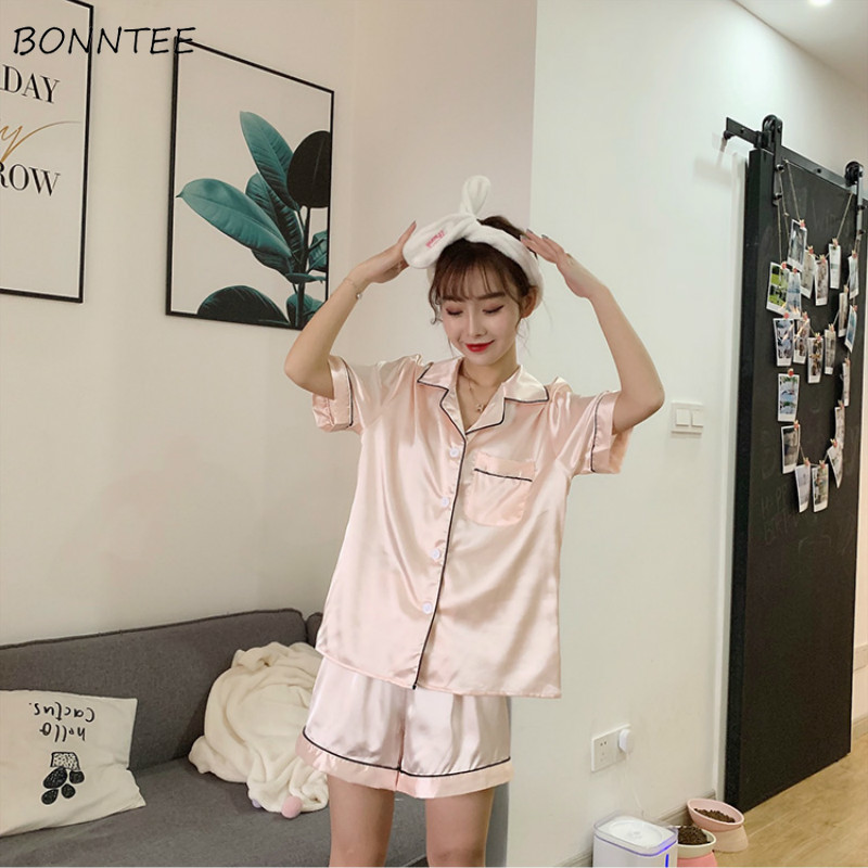Pajama     Sets   Women Soft Trendy Elegant All-match High-quality Korean Style Loose Leisure Daily Womens Female Lovely Simple 2019
