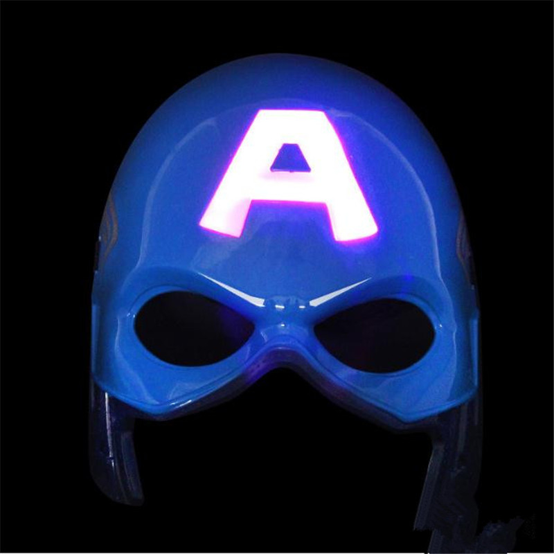 The Avengers Captain America Mask Cosplay Glowing Style Prop Anime Toy Accessories Christmas Party Halloween Costume For Kids