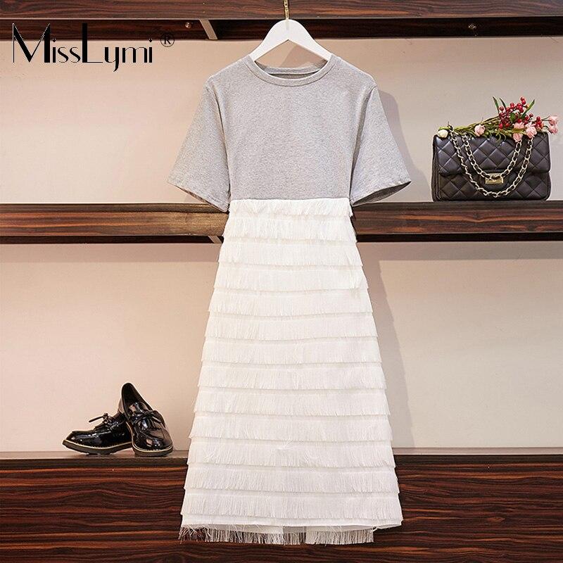 XL-5XL grande taille femmes gland robe de soirée été 2019 coton à manches courtes t-shirt Patchwork couches à franges a-ligne robes Midi