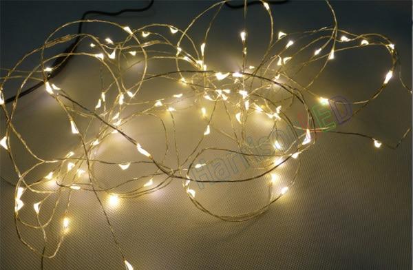5M/10M LED copper wire string holiday strip lights DC12V DC plug ...