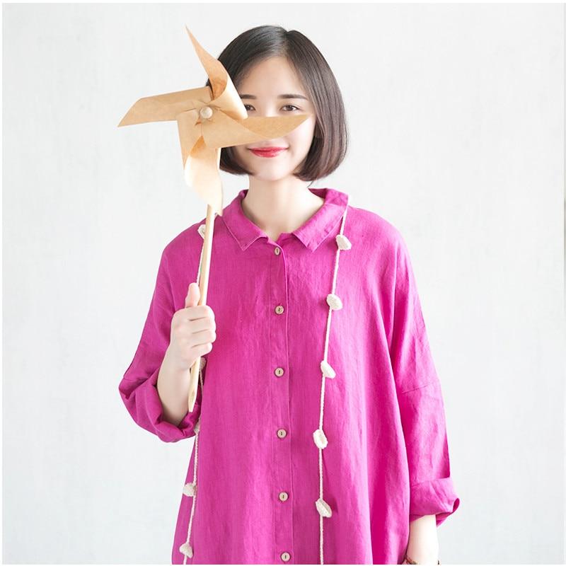 Chemise Coton Robe Nouveau Longue 2018 Pink Hot H018 Lin Printemps Unique Rose Poitrine qzSwtZOxB