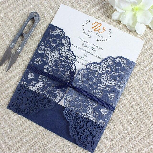 Navy Blue Wedding Invitation Cards With Envelops Shimmer Flower Laser Cut Printable Paper Kit 50pcs