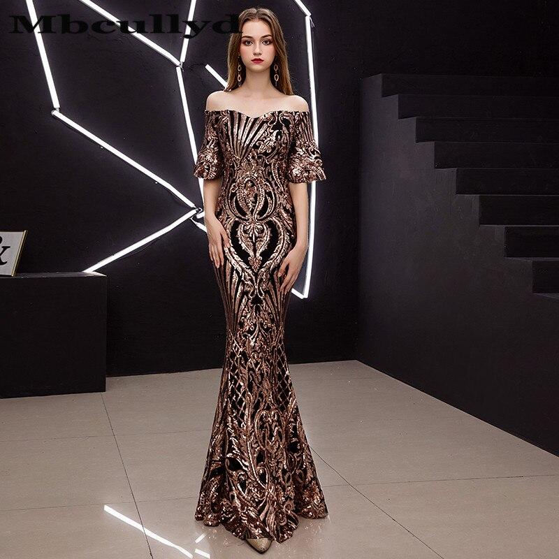 Mbcully longues robes de bal 2019 Sexy sirène Style or Sequin africain noir fille femmes robe de bal robe de soirée Gala pas cher vente
