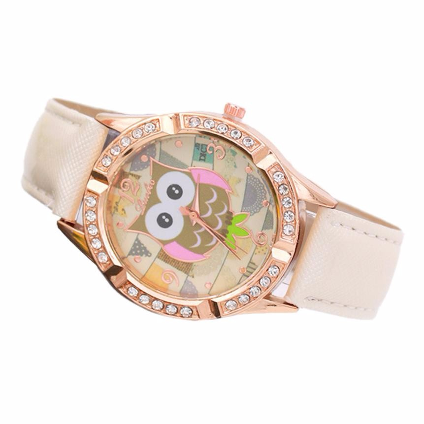 Cartoon Owls Watches Women Fashion Diamonds Clock Ladies Leather Band Analog Quartz Wrist Watch Womens Relogio Feminino #JO 2016 spider cartoon watch children kids wristwatch boys clock child gift leather wrist watch quartz cartoon watch quartz watch