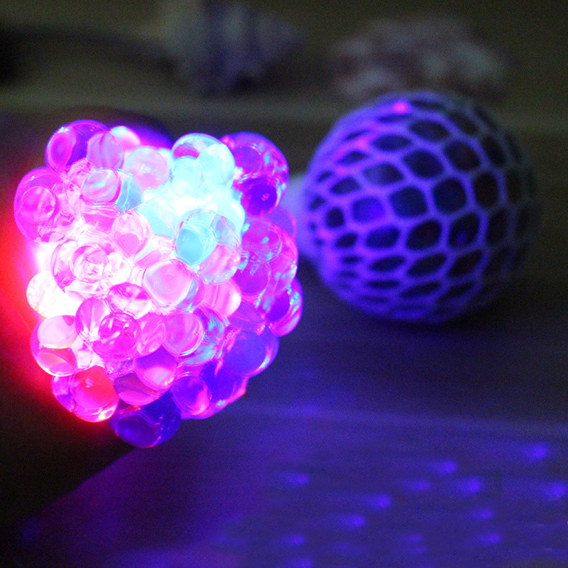 Flashing Lights Luminous Anti Stress Face Reliever Grape Ball Autism Mood Squeeze Relief Healthy Toy Funny Geek Gadget Vent Toy