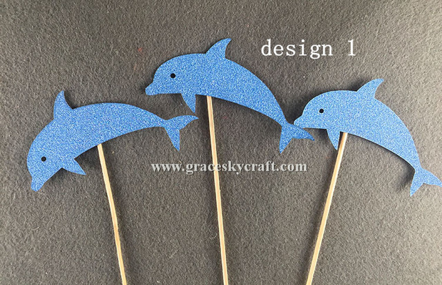 12pcs Free Shipping Glitter Paper Lovely Dolphin Design Wedding Cakes Toppers Christmas Party Favors Cupcake Picks
