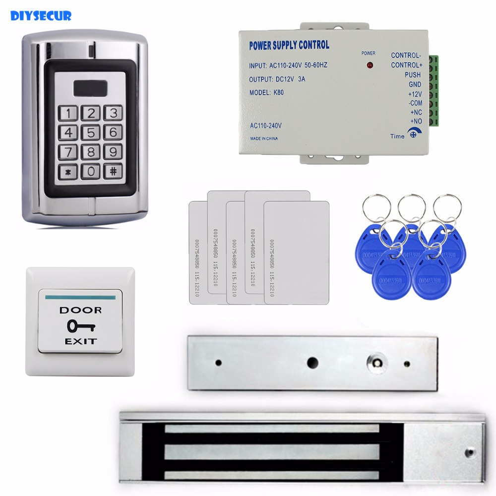 DIYSECUR 280KG Magnetic Lock 125KHz RFID Reader Password Metal Keypad Access Control System Security Kit BC2000 diysecur 125khz rfid reader password keypad access control system security kit 280kg magnetic lock door lock exit button