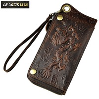 Top Quality Cattle Male Vintage Bifold Genuine Leather Card Coin Holder Organizer Checkbook Wallet Purse Ck001