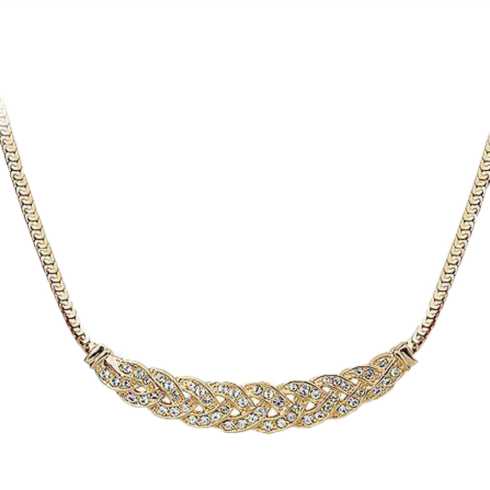 Vintage Noble Wheat Ear Full Rhinestone Short Necklace Choker Necklace Chunky Crystal Vintage Women Fashion Jewelry