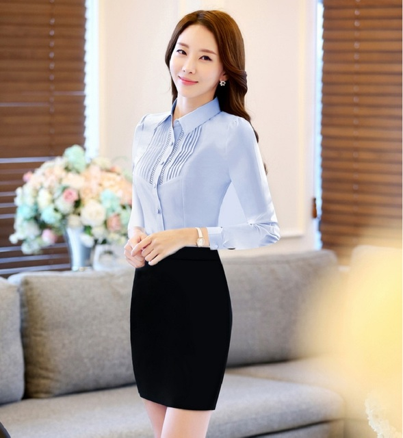Novelty Blue Slim Fashion Professional Work Suits Spring Fall With 2 Pieces Tops And Skirt For Business Women Ladies Skirt Suits