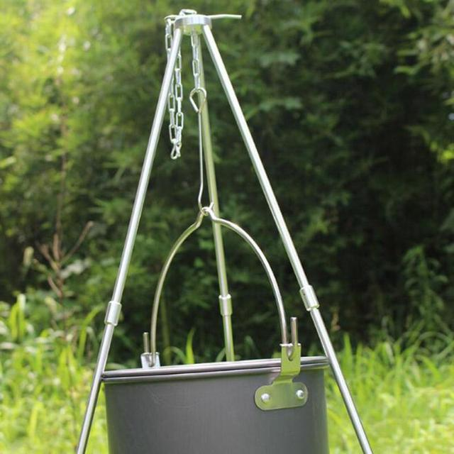AOTU Outdoor Camping Cooking Tripod Hanging Pot Supper Durable Portable Campfire Picnic Pot Cast Iron Fire Grill S25