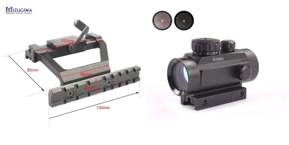 MIZUGIWA Heavy Duty Tactical AK 74 Side Rail Lock Scope Sight Mount Quick QD 20mm + Green Red Dot Riflescope Dot Sight 30mm Lens tactical russian ak47 74 47 zenit b 13 20mm cnc aluminium m47 qd side rail red dot scope mount base picatinny cerakote hunting