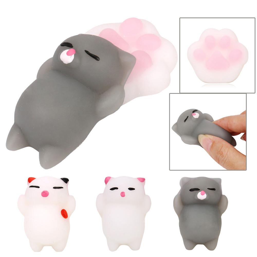Kid Fun Toy Gift Anti-stress Boy Girl Adult Kawaii A Set Cat And Pillow Mochi Squishy Squeezen Healing Kids Toy Stress Reliever