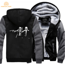 Banksy Pulp Fiction Hip Hop Mens Hooded 2019 Winter Jackets Men Warm Fleece Sweatshirts Thick Hoodies Fashion Coat 5XL